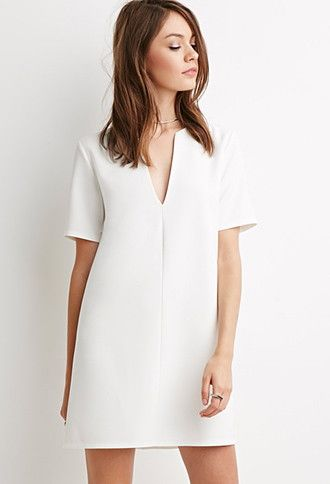 Make length longer V-Neck Crepe Shift Dress | Forever 21 - 2000141059