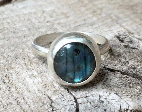 Stunning Round Flashy Blue Labradorite Sterling Silver Ring | Labradorite Ring | Energy Ring | Prote