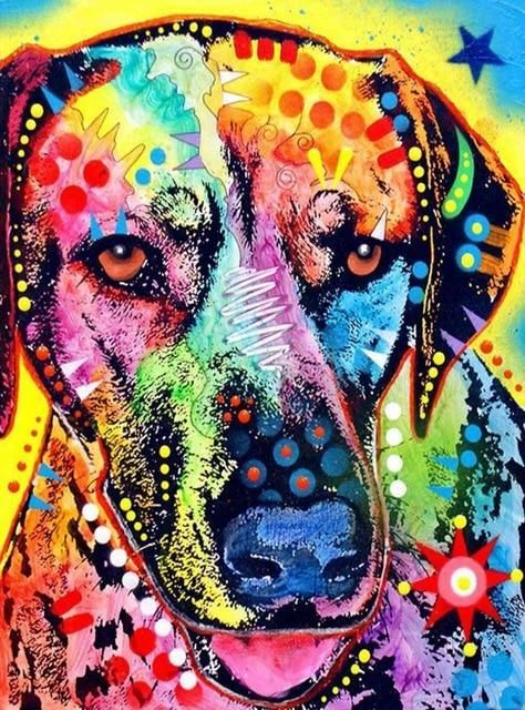 Abstract Dogs Diy Diamond Painting By Numbers Animal