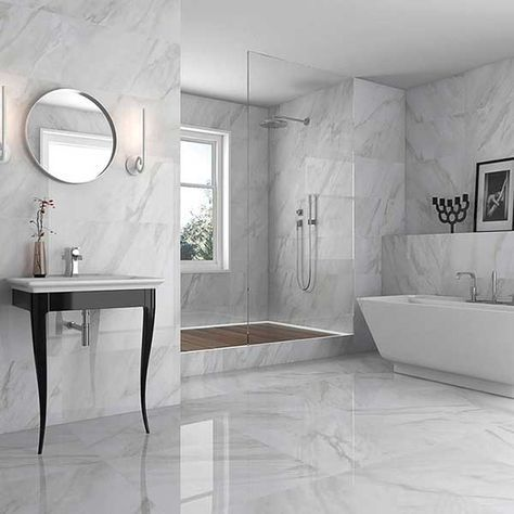 Marble Effect Bathroom Floor Tiles Diy Projects White Marble