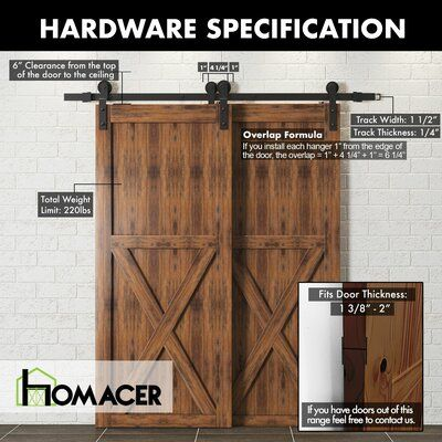 Homacer Single Bypass Double Door Barn Door Hardware Kit Wayfair In 2020 Bypass Barn Door Bypass Barn Door Hardware Barn Door