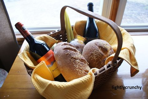 Traditional housewarming gift: Bread so you'll never go hungry. Candles so you'll always have light through the darkest times. Honey so you'll always enjoy the sweetness of life. Olive Oil so you will be blessed with health and well-being. Salt so there will always be flavor and spice in your life. Wine so you will always have joy and never go thirsty... Love this! :)
