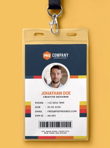 Multipurpose Dark Office Id Card Free Psd Template Psdfreebies Com Id Card Template Employee Id Card Psd Template Free