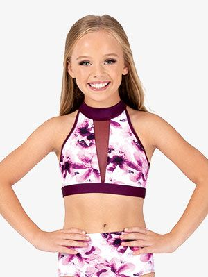 Nimiya Kids Girls 2PCS Athletics Sports Dance Outfit Racer Back Crop Tops Bra with Shorts Set Gymnastics Ballet Dance Leotard