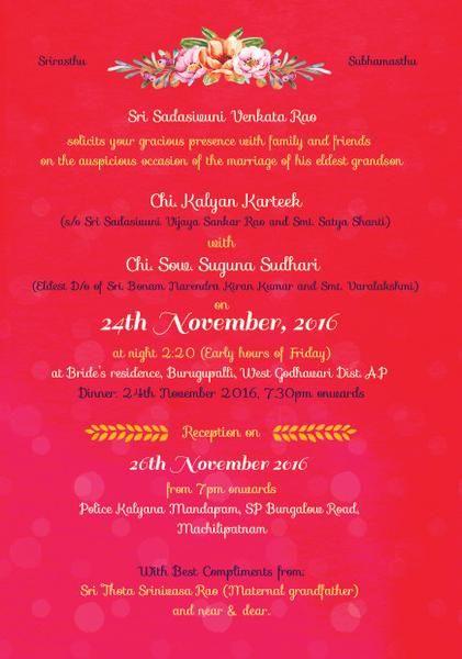 Illustrated Telugu Brahmin Wedding Invitation Wedding