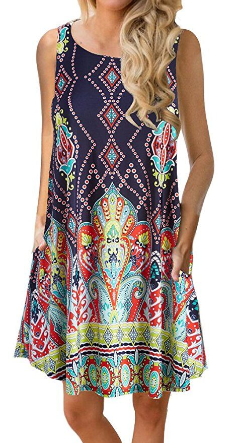 Women S Summer Casual Sleeveless Floral Printed Swing Dress Sundress With Pockets At Amazon Women S Clothin Summer Dresses For Women Swing Dress Summer Dresses