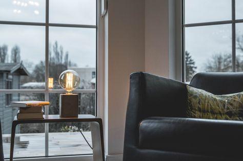 Blockbild beton lampe grau modern interior betonlampe