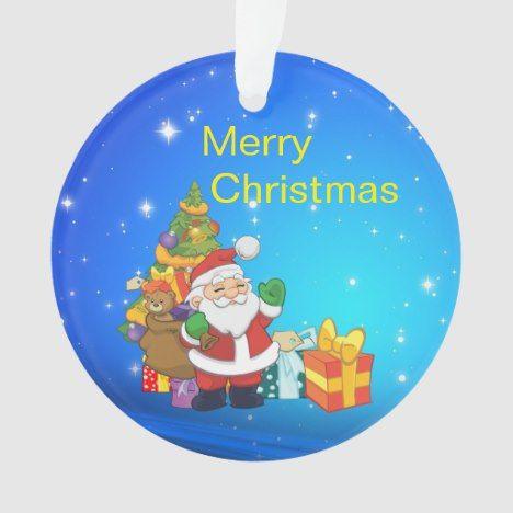 Santa Claus Christmas Presents Christmas Tree Ornament Zazzle Com Christmas Tree With Presents Christmas Tree Ornaments Santa Claus Christmas Tree