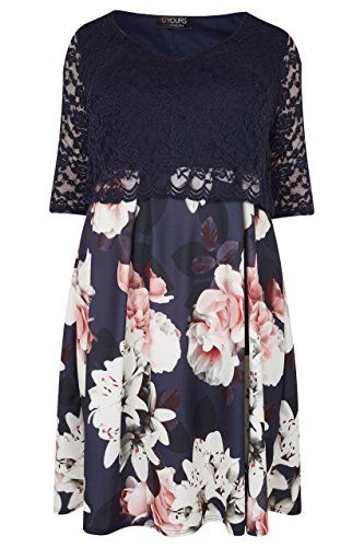 56cfe7cce00d Yours Women s Plus Size London   Multi Floral Print Lace Overlay Midi Dress  Size 26-