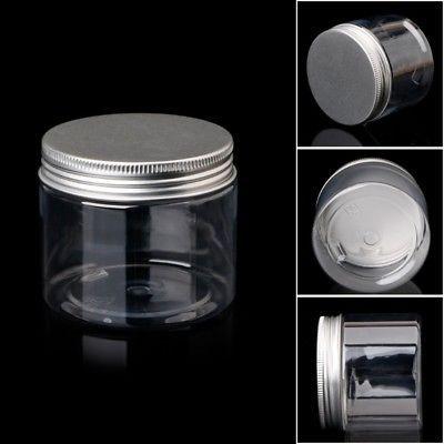 150ml Clear Round Pet Jar With Aluminium Screw Lid Food Storage