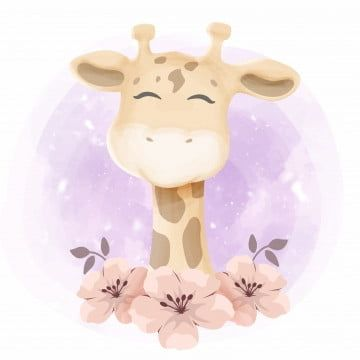 Cute Little Giraffe Portrait Watercolor Baby Love Png And Vector With Transparent Background For Free Download Giraffe Illustration Cute Baby Elephant Cute Giraffe