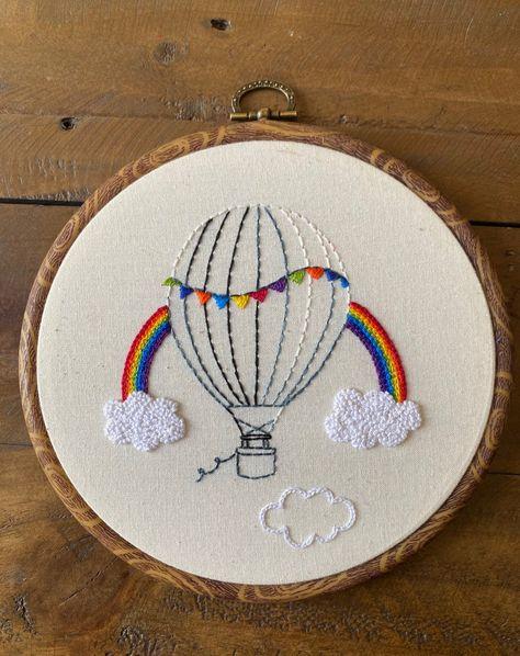 Hot air balloon rainbow embroidery PDF Pattern