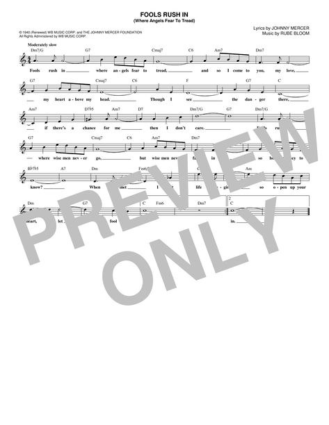 frank sinatra 'fools rush in (where angels fear to tread)' sheet music  notes, chords, score. download printable pdf.   frank sinatra, sheet music  notes, sheet music  pinterest