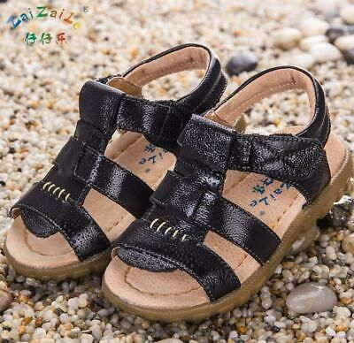 ###Summer Leather Sandals Closed Toe Beach Sports Shoes Kids-Boys Girls Toddler