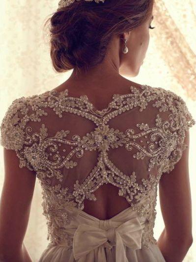 Sheer, intricate crystal-back wedding gown. Anna Campbell Gossamer design.