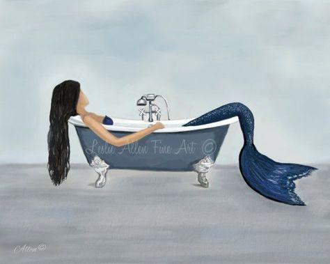 """Items similar to Mermaid Art Print Mermaid Painting Mermaid Bathroom Decor Beach Art Ocean Mermaid Decor  """"MERMAIDS RELAXING RETREAT"""" Leslie Allen Fine Art on Etsy,  #allen #Art #Bathroom #Beach #Decor #diybathroomdecormermaid #Etsy #Fine #items #Leslie #Mermaid #Mermaids #ocean #painting #Print #relaxing #Retreat #similar"""