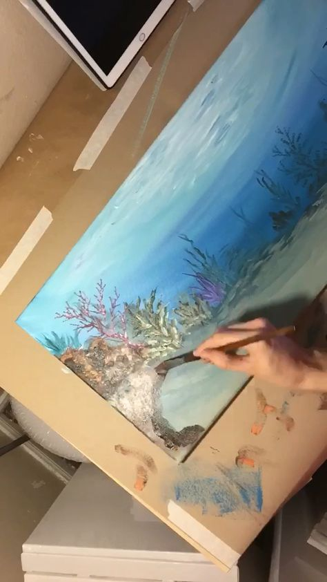 Watch the progression of TrueAcrylics ocean Art. Check out the website for more!
