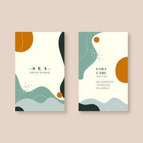 Business card template in abstract paint. Thank You Card Design, Name Card Design, Brochure Design, Branding Design, Logo Design, Identity Branding, Corporate Design, Visual Identity, Free Business Card Templates