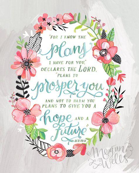 Jeremiah 29:11  Art Print  Makewells Bible Verse by Makewells