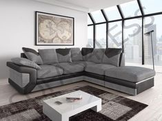 New Dino Jumbo Fabric Leather Corner Sofa Armchair Footstool Black Grey Brown In 2020 Leather Corner Sofa Corner Sofa Best Leather Sofa