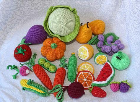 21 Stück - häkeln-Obst & Gemüse - große Reihe - häkeln Jahreszeiten - Öko-Dekoration - Dekor - Spiel-Lebensmittel - Spielzeug