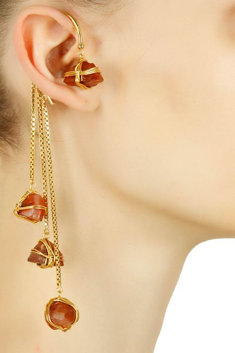 Details about  /Vine Leaf Ear Climber Crawler Cuff Earrings Real 14K Yellow Gold