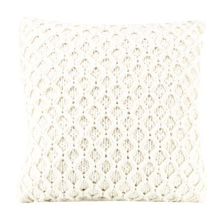 Better Homes Gardens Sweater Knit Decorative Throw Pillow 17 X 17 Ivory Walmart Com Throw Pillows Decorative Throw Pillows Grey Decorative Pillow