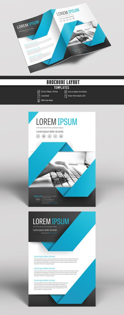 Brochure Cover Layout with Blue and Gray Accents 3 Stock Template