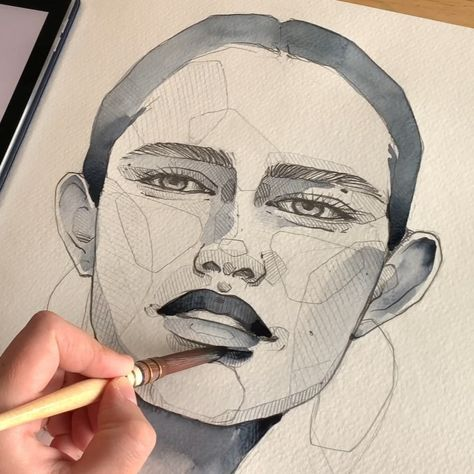 """Polina Bright on Instagram: """"Watercolor portrait sketch 🖤 Leave any comment or a chance to win a mini Blindfolded Set from me ) Full time video is already on YouTube…"""""""