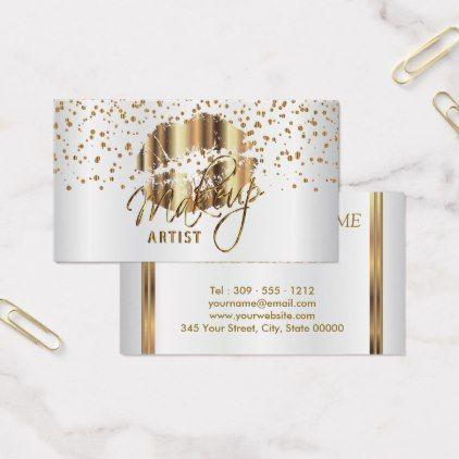 Makeup Artist Golden Confetti Gold Metal Lips 2 Business Card