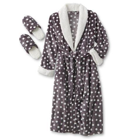 547a2b4c0c Women s Short Robe   Slippers - Polka Dot - Sears
