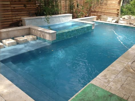 Https Nolapools Com Wp Content Uploads 2017 02 Rain Waterfall Into A Glass Tile Spa With Stepping Stones Jp Pools Backyard Inground Backyard Pool Pool Houses