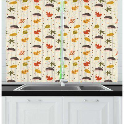 East Urban Home Autumn Illustration Of Leafs From Fall Season Polka Dots And Hedgehogs Art Kitchen Curtain Wayfair In 2020 Kitchen Art East Urban Home Hedgehog Art