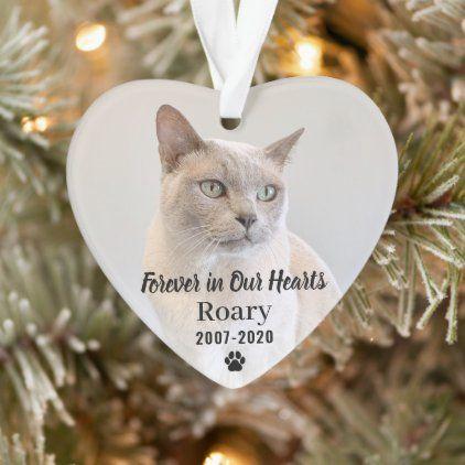 Keepsake Christmas Ornament 2020 Pet Memorial Forever in Our Hearts Pet Memorial Photo Keepsake Ornament