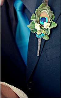 not so much the peacock, but what if the boys did this, navy with teal tie, it would still match Justin's uniform and tie into the color sceme