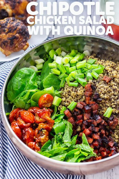 This simple and healthy chipotle chicken salad recipe is perfect for hot weather. With a hint of Mexican flavour from the spicy chicken and quinoa to make sure you stay full. #thecookreport #chickensalad #healthyrecipe