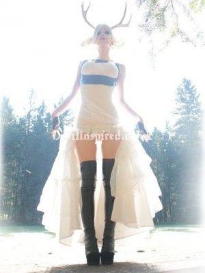 White Lace and Ruffle Steampunk Dress
