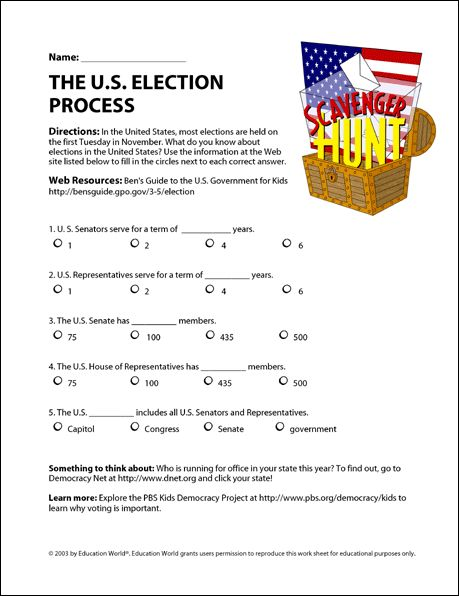 Education World Internet Scavenger Hunt The Us Election Process