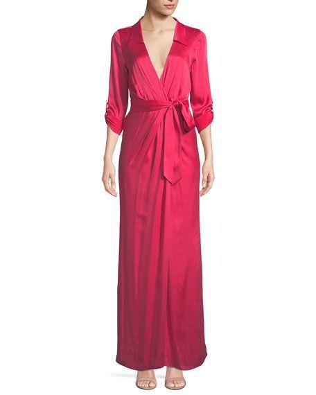b2907d3704dd5 Get free shipping on Alice + Olivia Bayley Wrap Draped Silk Maxi ...
