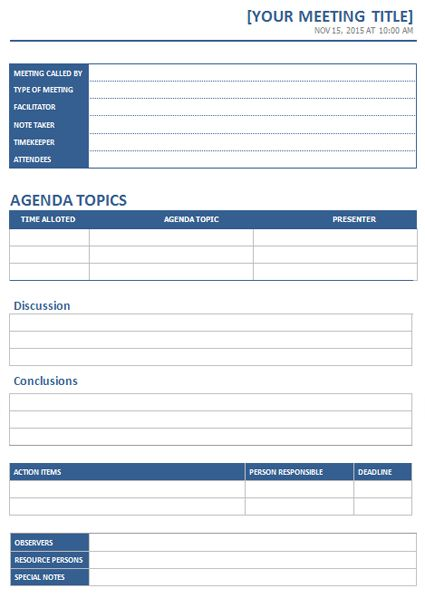 Download the Business Meeting Agenda (Table format) from Vertex42