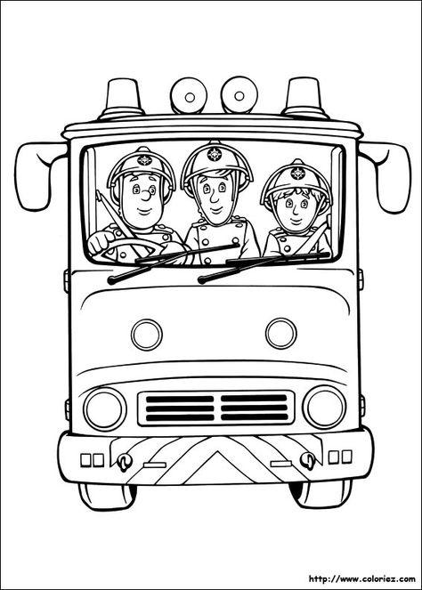 Coloriages Des Pompiers Dans Le Camion Coloriage Pompier