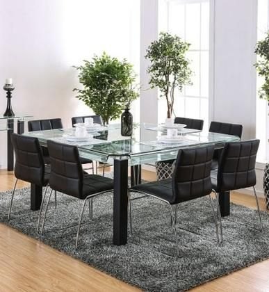 Batesland I Collection Cm3363t8sc 9 Piece Dining Room Set With Rectangular Table And 8 Side C Square Glass Dining Table Square Dining Tables Modern Dining Room