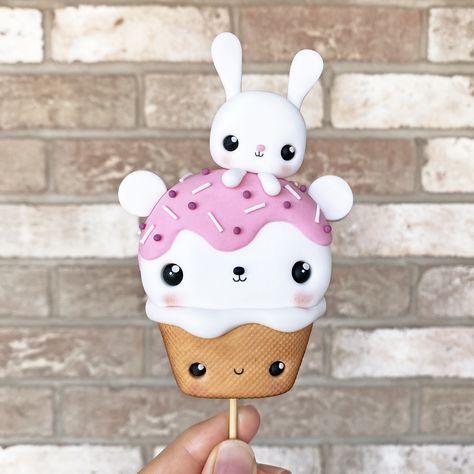 Kawaii Teddy Bear Ice Cream - Cake Topper