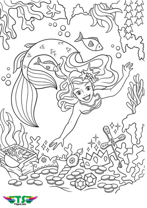 Beautiful Mermaid And Treasure Coloring Sheet Mermaid Coloring Pages Princess Coloring Pages Mermaid Coloring Book