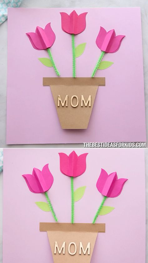 PAPER TULIP CARD 🌷 - such a simple and pretty Mother's day card craft! Easy for kids to make with free printable templates. A lovely Mother's day craft for kids. #bestideasforkids
