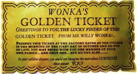 picture about Wonka Golden Ticket Printable named Listing of Pinterest golden ticket printable no cost chocolate