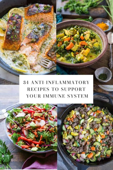 Anti-Inflammatory Recipes to Support Your Immune System using nutrient-dense ingredients. Packed with antioxidants to lower inflammation and boost immunity. Ayurveda, Anti Inflammatory Foods List, Anti Inflammatory Smoothie, Endo Diet, Clean Eating, Healthy Eating, Healthy Life, Healthy Food, Dinner Healthy