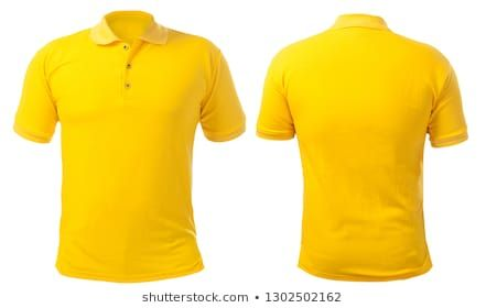 Download Blank Collared Shirt Blank Collared Shirt Mock Up Template Front And Back View Isolated On White Plain Ye Plain Yellow T Shirt Yellow T Shirt Tee Design