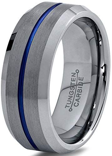 Chroma Color Collection Tungsten Carbide Wedding Band Ring 8mm for Men Women Green Red Blue Purple Grey Copper Fuchsia Teal Bevel Edge Brushed Polished