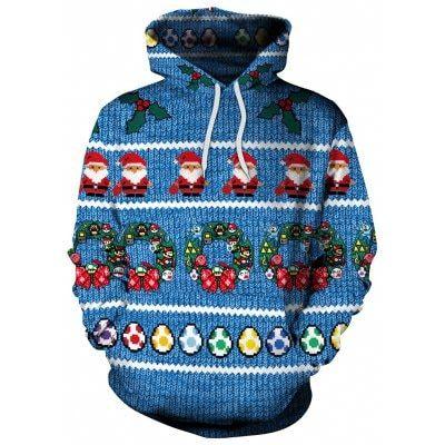 Women Pullover Hoodies Santa Claus Long Sleeve Fleece Hooded Sweatshirt Sweater Blouses Tops